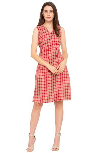 Womens V Neck Checked A-Line Dress