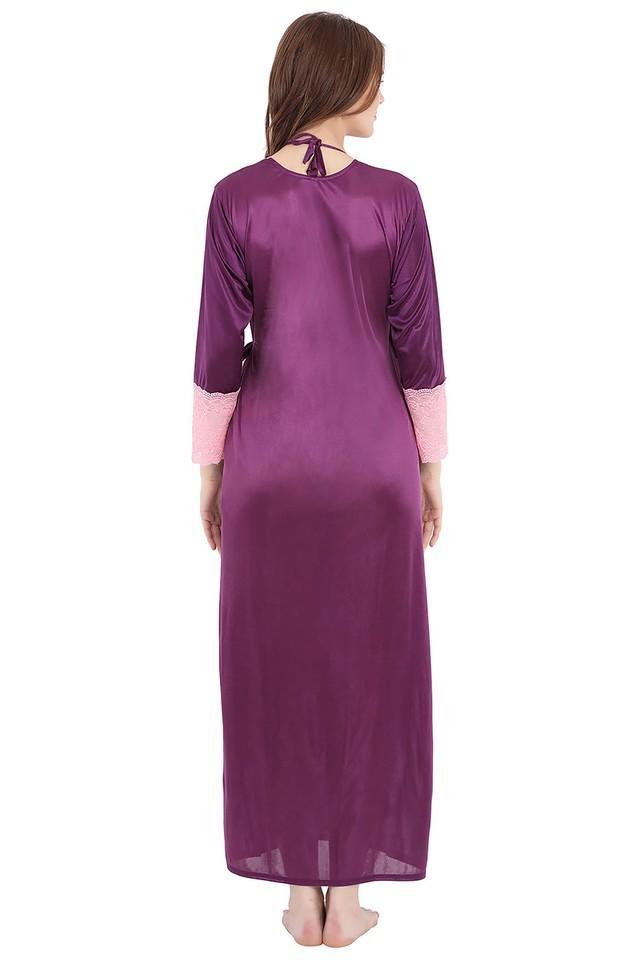 Womens Surplice Neck Solid Nightwear Set