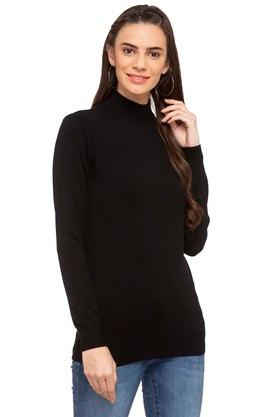 109F Womens High Neck Solid Sweater - 204717502_9212