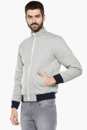 STOPMens Zip Through Neck Solid Quilted Jacket