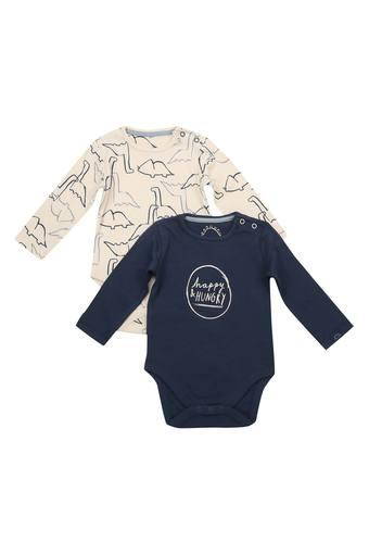 Kids Round Neck Printed and Graphic Print Bodysuit - Set of 2