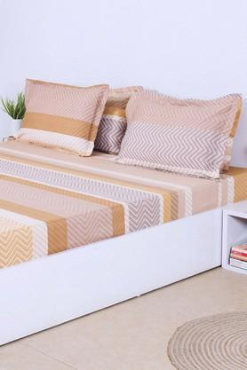 Stripe King Bed Sheet with 4 Pillow Cover