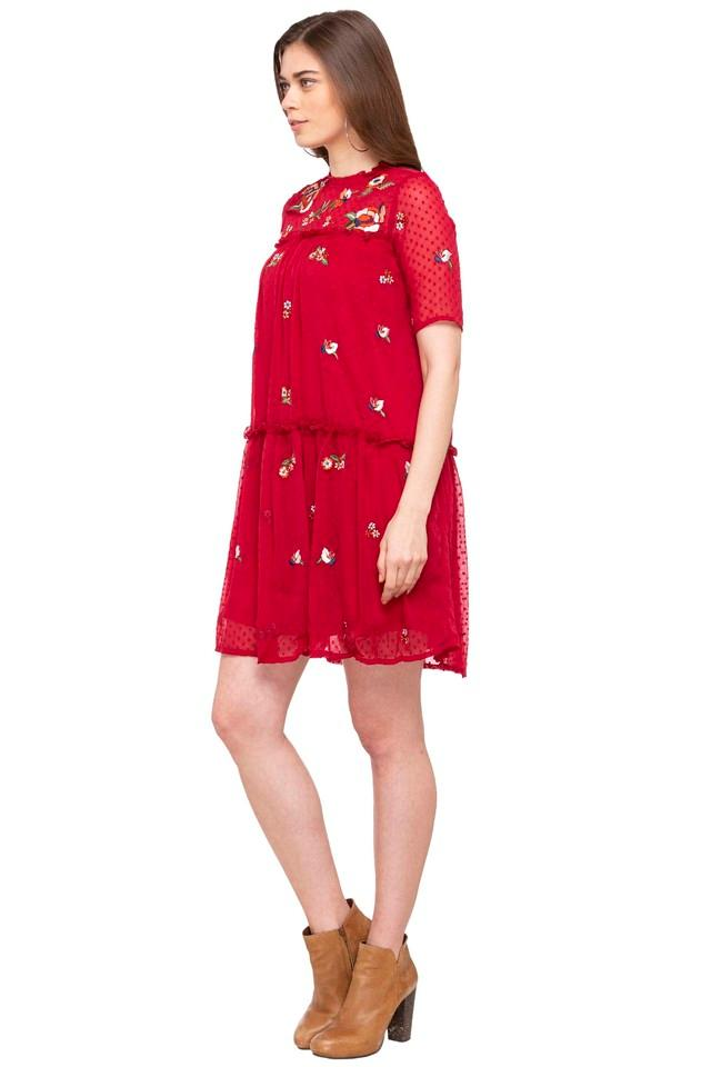 Womens Ruffled Collar Embroidered Mini Dress