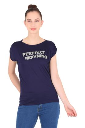Womens Boat Neck Graphic Print T-Shirt