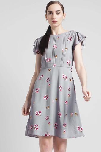 Buy ZINK LONDON Womens Boat Neck Printed Skater Dress ... c7b960ade
