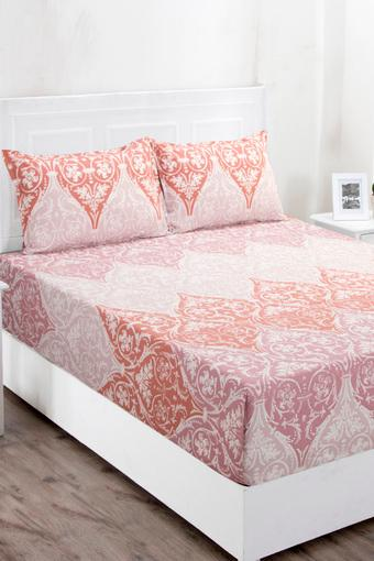 Superfine Cotton Red Double Bedsheet with 2 Pillow Covers - 144 TC