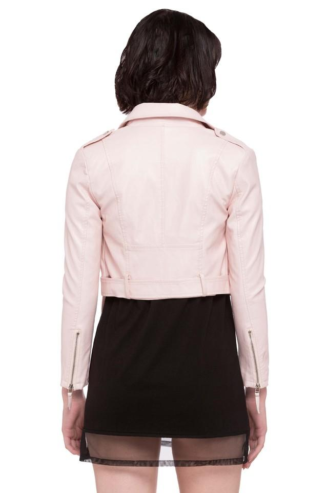 Womens Collared Solid Bikers Jacket
