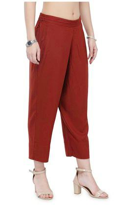 Women solid mid-rise straight pants