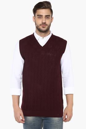 VAN HEUSENMens V-Neck Knitted Pattern Sweater
