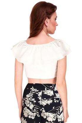 Womens Off Shoulder Solid Crop Top