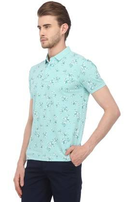 Mens Floral Print Polo T-Shirt