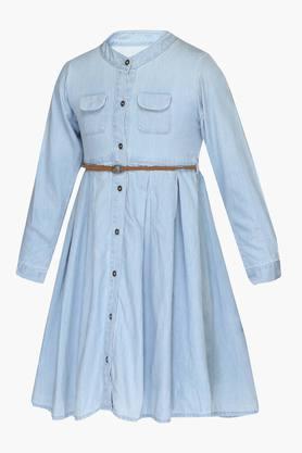 Girls Mandarin Neck Slub Shirt Dress