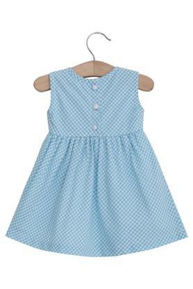 Girls Round Neck Checked Dress