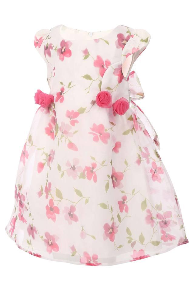 Girls Round Neck Floral Print A-Line Dress
