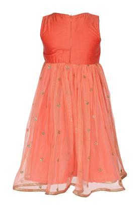 Girls Round Neck Embroidered Sequin Layered Gown