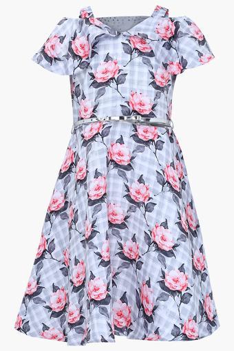 Girls V- Neck Floral Print A-Line Dress