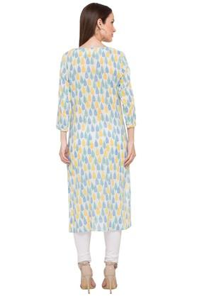 Womens Tie Up Neck Printed Kurta