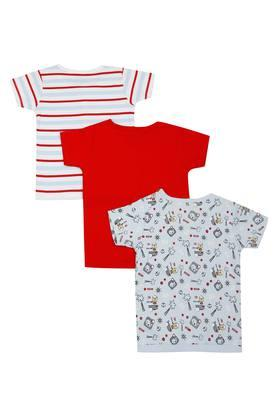 Girls Printed Striped and Solid Tee - Pack of 3