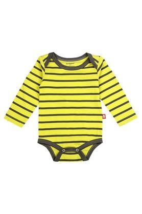 Boys Envelope Neck Printed and Striped Babysuit - Pack Of 2