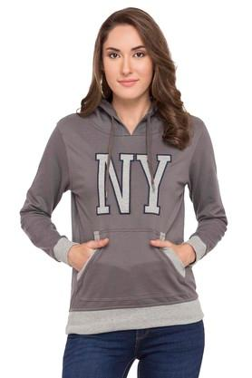 RS BY ROCKY STAR Womens Hooded Solid Sweatshirt