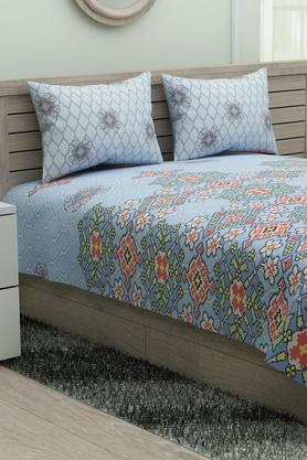 SPACESEthnic Rangana Printed Double Bed Sheet With Pillow Cover