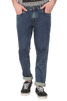 Mens Tapered Fit 5 Pocket Acid Wash Jeans