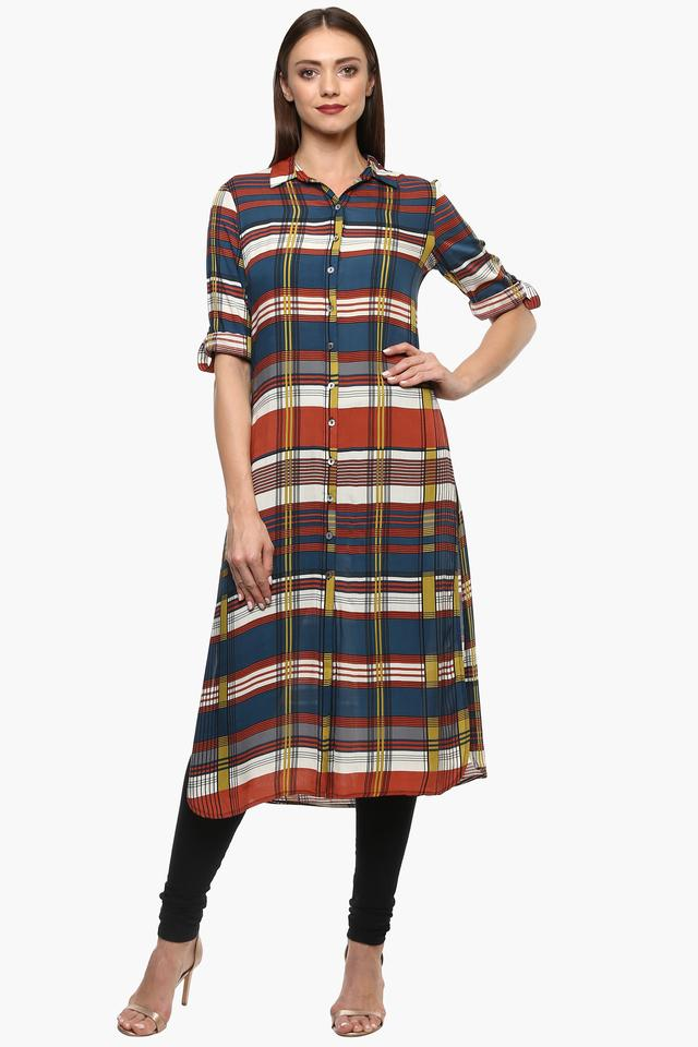 Womens Collared Check Tunic