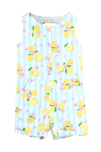 Girls Round Neck Lemon and Striped Print Jumpsuit