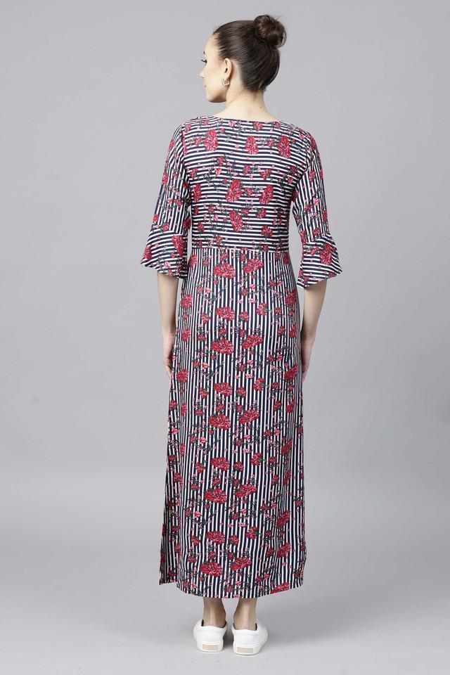 Womens Notched Neck Floral Print Maxi Dress