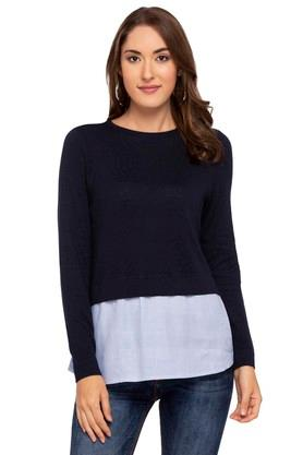 ONLY Womens Round Neck Solid Layered Pullover