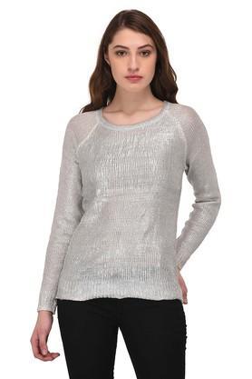 PURYSWomens Round Neck Slub Sweater