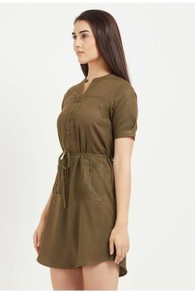 Womens Mandarin Neck Slub A-Line Dress