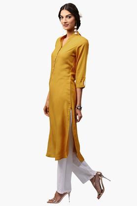 LIBASWomens Mandarin Neck Solid Straight Fit Kurta - 203367604
