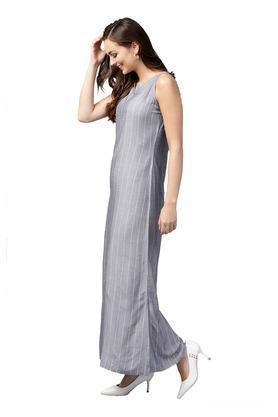 Womens Notched Neck Striped Maxi Dress