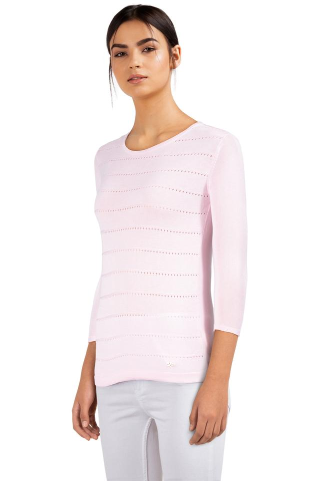 Womens Round Neck Solid Knitted Top