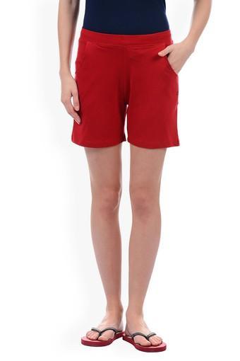 Womens 2 Pocket Solid Shorts