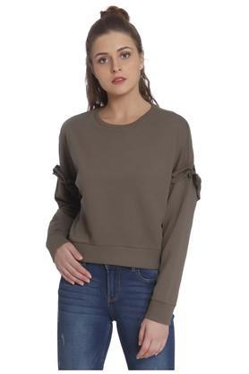 ONLYWomens Round Neck Solid Sweatshirt