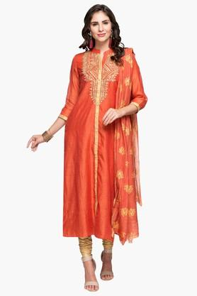 RS BY ROCKY STARWomens Mandarin Neck Embroidered Churidar Suit