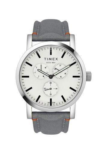 Mens White Dial Leather Multi-Function Watch - TWEG16609
