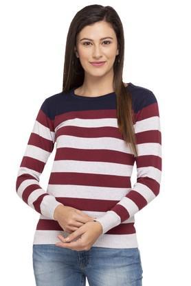 LIFEWomens Round Neck Stripe Sweater