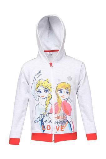 Girls Hooded Neck Cartoon Print Sweatshirt