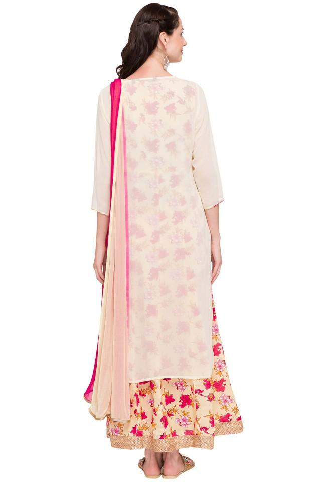 Womens Round Neck Embroidered Kurta and Dupatta Set