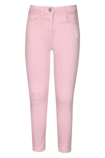 Girls 5 Pocket Solid Trousers