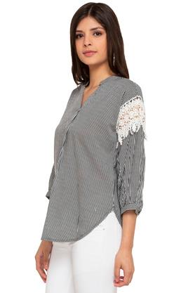 Womens Mandarin Collar Stripe Lace Top