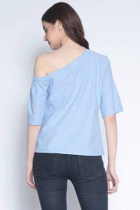 Womens One Shoulder Slub Top