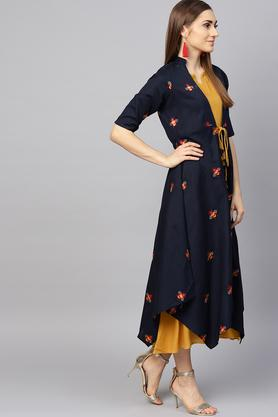 Womens Notched Collar Solid A-line Dress with Embroidered Ethnic Jacket