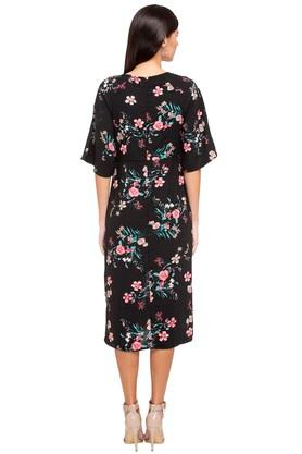 Womens Round Neck Floral Wrap Dress