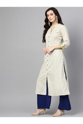 Womens Mandarin Collar Checked Kurta
