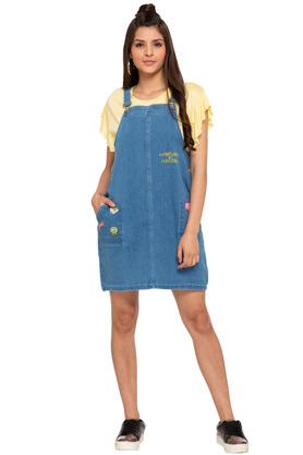 Womens Strappy Neck Rinse Wash Pinafore Dress