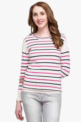 STOP Womens Round Neck Stripe Sweater
